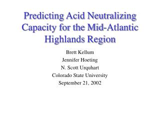 Predicting Acid Neutralizing Capacity for the Mid-Atlantic Highlands Region