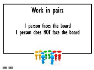 Work in pairs 1 person faces the board 1 person does NOT face the board