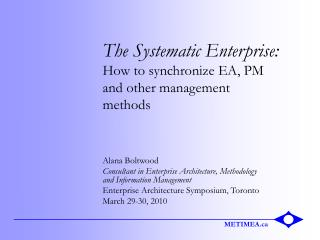 The Systematic Enterprise: How to synchronize EA, PM and other management methods