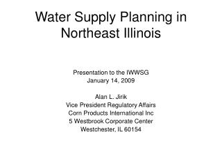 Water Supply Planning in Northeast Illinois