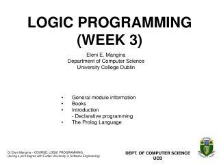 LOGIC PROGRAMMING (WEEK 3)