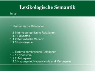 Lexikologische Semantik