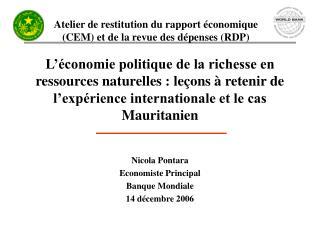 Nicola Pontara Economiste Principal Banque Mondiale 14 décembre 2006