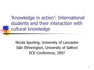 'Knowledge in action': International students and their interaction with cultural knowledge