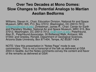 Over Two Decades at Mono Domes: Slow Changes to Potential Analogs to Martian Aeolian Bedforms