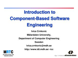 Introduction to Component-Based Software Engineering