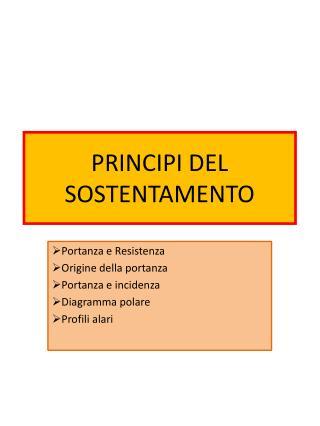 PRINCIPI DEL SOSTENTAMENTO