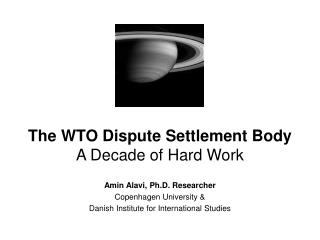 The WTO Dispute Settlement Body A Decade of Hard Work