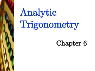 Analytic Trigonometry
