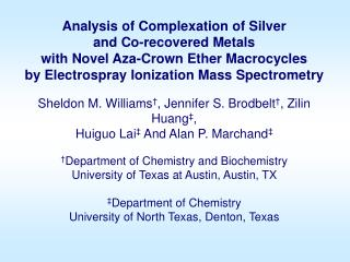 Analysis of Complexation of Silver  and Co-recovered Metals