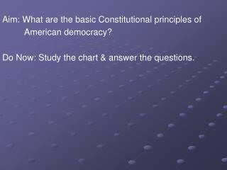 Aim: What are the basic Constitutional principles of          American democracy?