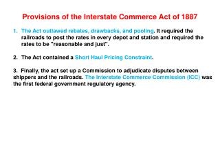 Provisions of the Interstate Commerce Act of 1887