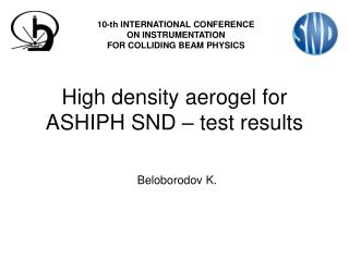 High density aerogel for ASHIPH SND – test results
