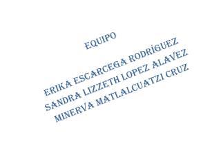EQUIPO  ERIKA ESCARCEGA RODRÍGUEZ SANDRA LIZZETH LOPEZ ALAVEZ MINERVA MATLALCUATZI CRUZ
