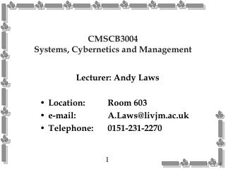 CMSCB3004 Systems, Cybernetics and Management