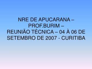 NRE DE APUCARANA   PROF.BURIM    REUNI O T CNICA   04   06 DE SETEMBRO DE 2007 - CURITIBA