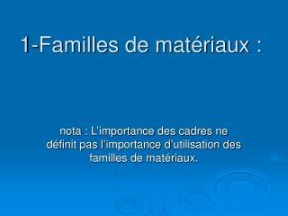 1-Familles de matériaux: