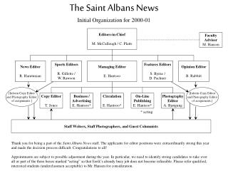 The Saint Albans News Initial Organization for 2000-01