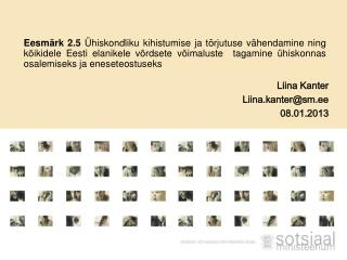 Liina Kanter Liina.kanter@sm.ee 08.01.2013