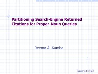 Partitioning Search-Engine Returned Citations for Proper-Noun Queries