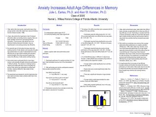 Anxiety Increases Adult Age Differences in Memory