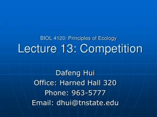 BIOL 4120: Principles of Ecology  Lecture 13: Competition
