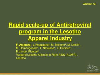Rapid scale-up of Antiretroviral program in the Lesotho Apparel Industry