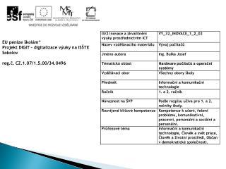 """EU peníze školám"""" Projekt DIGIT – digitalizace výuky na ISŠTE Sokolov"""