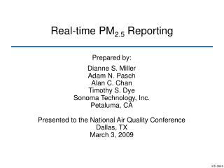 Real-time PM 2.5  Reporting