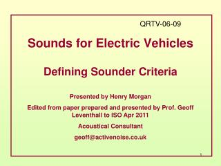 Sounds for Electric Vehicles