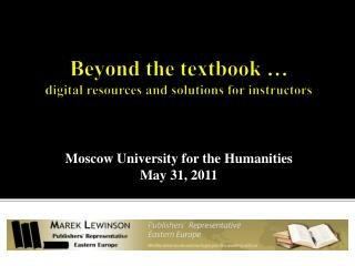 Beyond the  textbook  � digital resources and solutions for instructors