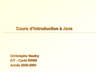 Cours d'introduction à Java