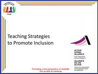Teaching Strategies  to Promote Inclusion