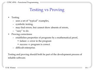 Testing vs Proving