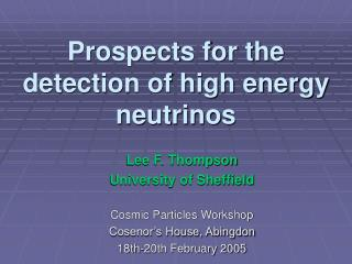 Prospects for the detection of high energy neutrinos