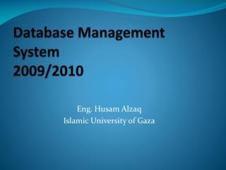 Database Management System 2009/2010