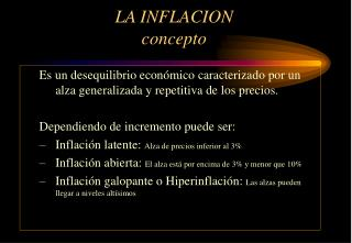 LA INFLACION  concepto