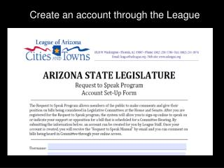 Create an account through the League