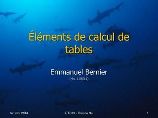 l ments de calcul de tables