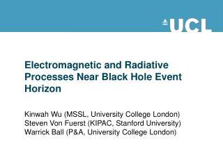 Electromagnetic and Radiative Processes Near Black Hole Event Horizon