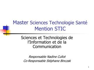 Master Sciences Technologie Sant  Mention STIC