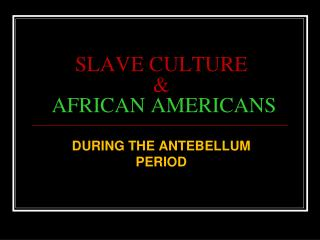 SLAVE CULTURE  & AFRICAN AMERICANS