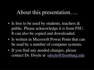 About this presentation….