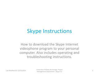Skype Instructions