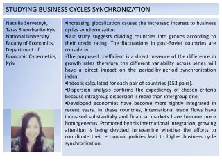 STUDYING BUSINESS CYCLES  SYNCHRONIZATION