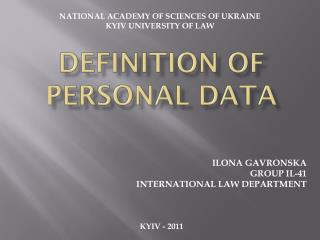 DEFINITION OF PERSONAL DATA