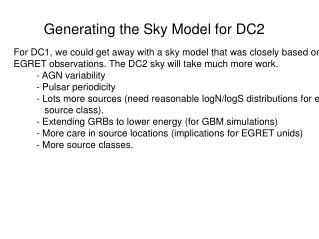 Generating the Sky Model for DC2