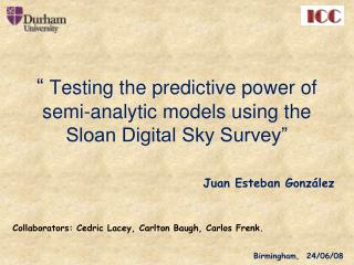 �  Testing the predictive power of semi-analytic models using the Sloan Digital Sky Survey�