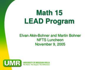 Math 15  LEAD Program
