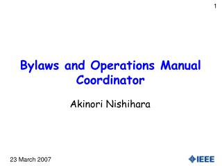 Bylaws and Operations Manual Coordinator